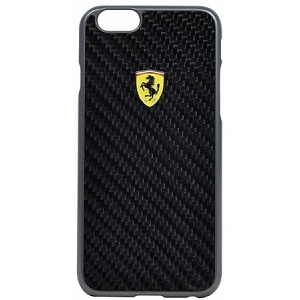 Чехол книжка для Apple iPhone 6S Plus Ferrari Formula One Hard Real Carb FESCCBHCP6LBL 6 Black